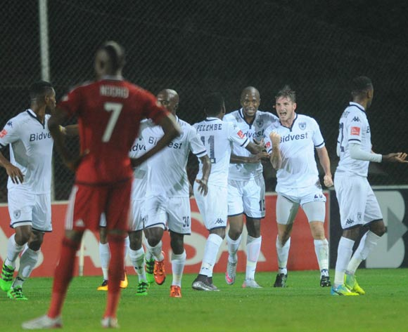 James Keene of Bidvest Wits celebrates a goal with teammates  during the Absa Premiership match between Bidvest Wits and Orlando Pirates on 16 March 2016 at Bidvest Stadium Pic Sydney Mahlangu/ BackpagePix