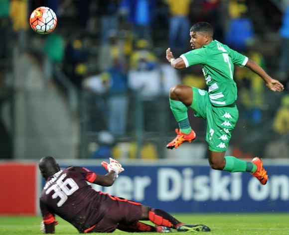 Lyle Lakay (l) of Bloemfontein Celtic score his goal during the Absa Premiership match match between Mamelodi Sundowns and Bloemfontein Celtic at the Lucas Moripe Stadium in Pretoria, South Africa on March 16, 2016 ©Samuel Shivambu/BackpagePix