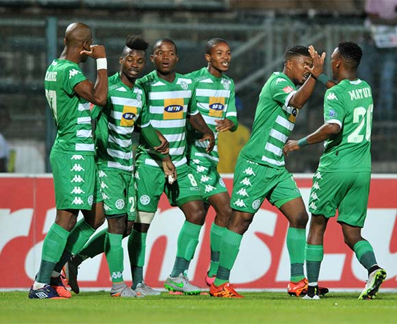 Lyle Lakay of Bloemfontein Celtic celebrates his goal with his teammates during the Absa Premiership match match between Mamelodi Sundowns and Bloemfontein Celtic at the Lucas Moripe Stadium in Pretoria, South Africa on March 16, 2016 ©Samuel Shivambu/BackpagePix