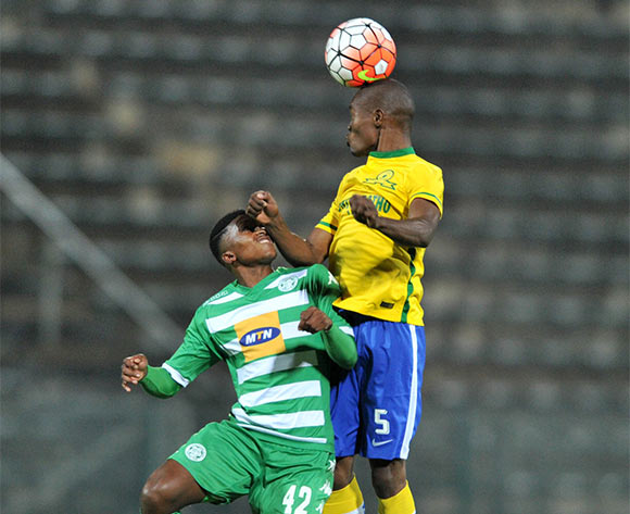 Asavela Mbekile (r) of Mamelodi Sundowns challenged by Dumisani Zuma (l) of Bloemfontein Celtic during the Absa Premiership match match between Mamelodi Sundowns and Bloemfontein Celtic at the Lucas Moripe Stadium in Pretoria, South Africa on March 16, 2016 ©Samuel Shivambu/BackpagePix