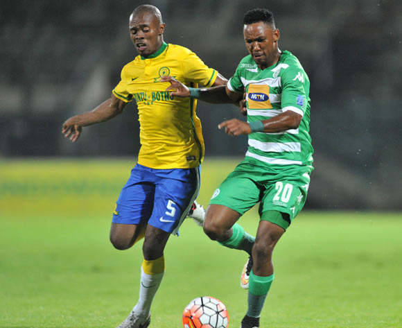 Thabang Matuka of Bloemfontein Celtic challenged by Asavela Mbekile of Mamelodi Sundowns during the Absa Premiership match match between Mamelodi Sundowns and Bloemfontein Celtic at the Lucas Moripe Stadium in Pretoria, South Africa on March 16, 2016 ©Samuel Shivambu/BackpagePix
