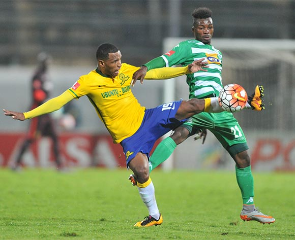 Mzikayise Mashaba (l) of Mamelodi Sundowns challenged by Fiston Abdul (r) of Bloemfontein Celtic during the Absa Premiership match match between Mamelodi Sundowns and Bloemfontein Celtic at the Lucas Moripe Stadium in Pretoria, South Africa on March 16, 2016 ©Samuel Shivambu/BackpagePix