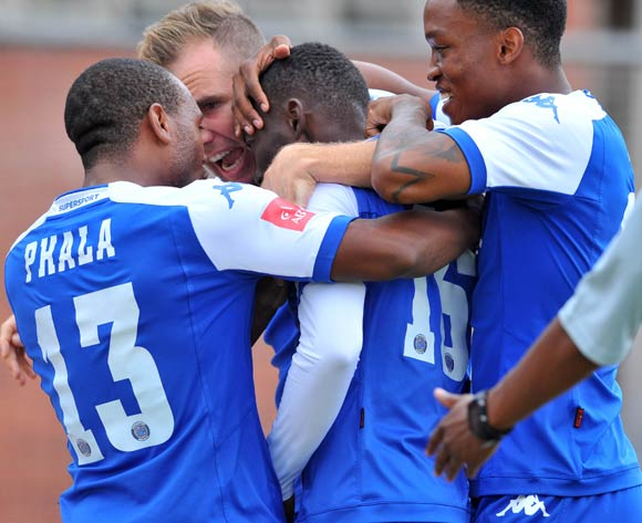 Dove Wome (c) of Supersport United celebrates his goal with his teammates during the Absa Premiership match match between Golden Arrows and SuperSport United at the Chatsworth Stadium in Kwa-Zulu Natal, South Africa on March 19, 2016 ©Samuel Shivambu/BackpagePix
