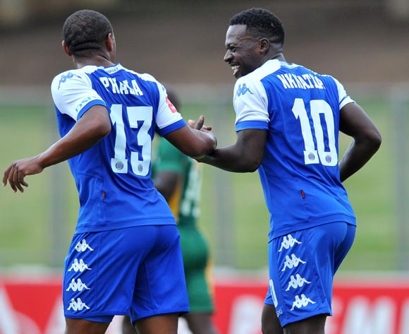 Kingston Nkhatha (r) celebrates his penalty goal with Thuso Phala (l) of Supersport United during the Absa Premiership match match between Golden Arrows and SuperSport United at the Chatsworth Stadium in Kwa-Zulu Natal, South Africa on March 19, 2016 ©Samuel Shivambu/BackpagePix