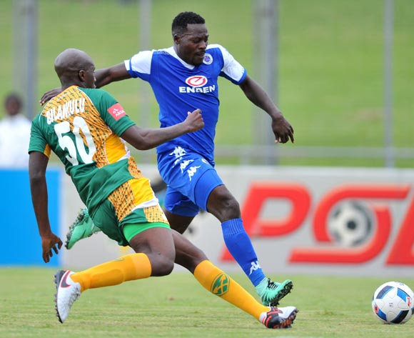 Kingston Nkhatha (r) of Supersport United tackled by Musa Bilankulu (l) of Golden Arrows during the Absa Premiership match match between Golden Arrows and SuperSport United at the Chatsworth Stadium in Kwa-Zulu Natal, South Africa on March 19, 2016 ©Samuel Shivambu/BackpagePix