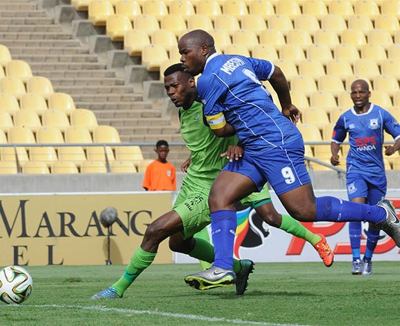 Isaac Nhlapo of Platinum Stars is challenged by Collins Mbesuma of Black Aces during the Absa Premiership match between Platinum Stars and Black Aces on 20 March 2016 at Royal Bafokeng Stadium Pic Sydney Mahlangu/ BackpagePix