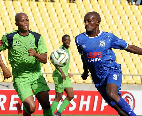 Solomon Mathe of Platinum Stars challenges Lehlohonolo Nonyane of Black Aces during the Absa Premiership match between Platinum Stars and Black Aces on 20 March 2016 at Royal Bafokeng Stadium Pic Sydney Mahlangu/ BackpagePix
