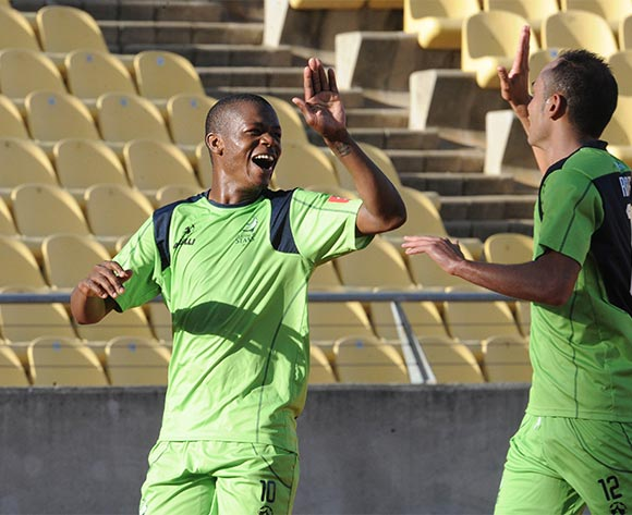 Ndumiso Mabena of Platinum Stars(l)  celebrates a gaol with teammates during the Absa Premiership match between Platinum Stars and Black Aces on 20 March 2016 at Royal Bafokeng Stadium Pic Sydney Mahlangu/ BackpagePix