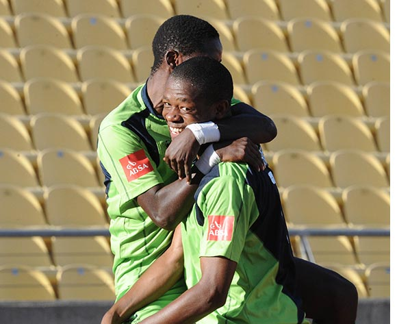 Ndumiso Mabena of Platinum Stars(r) celebrates a gaol during the Absa Premiership match between Platinum Stars and Black Aces on 20 March 2016 at Royal Bafokeng Stadium Pic Sydney Mahlangu/ BackpagePix