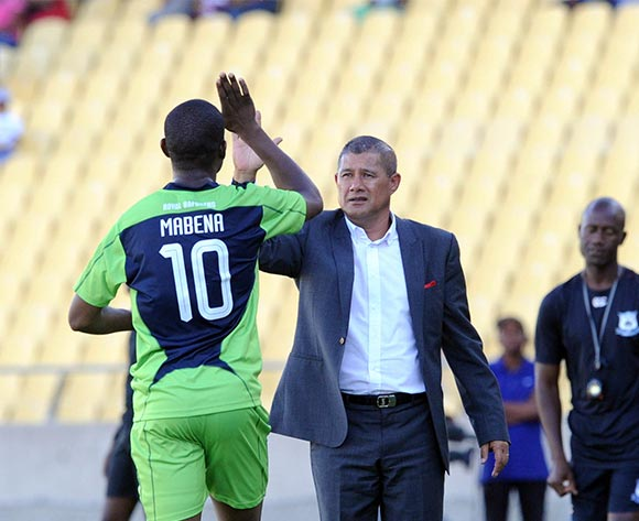 Ndumiso Mabena of Platinum Stars celebrates a gaol with Cavin Johnson coach of Platinum Stars during the Absa Premiership match between Platinum Stars and Black Aces on 20 March 2016 at Royal Bafokeng Stadium Pic Sydney Mahlangu/ BackpagePix