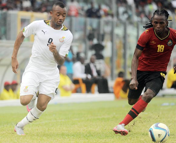 Mussica of Mozambique challenging Jordan Ayew of Ghana during the 2017 African Cup of Nations Qualifiers ©Christian Thompson/BackpagePix
