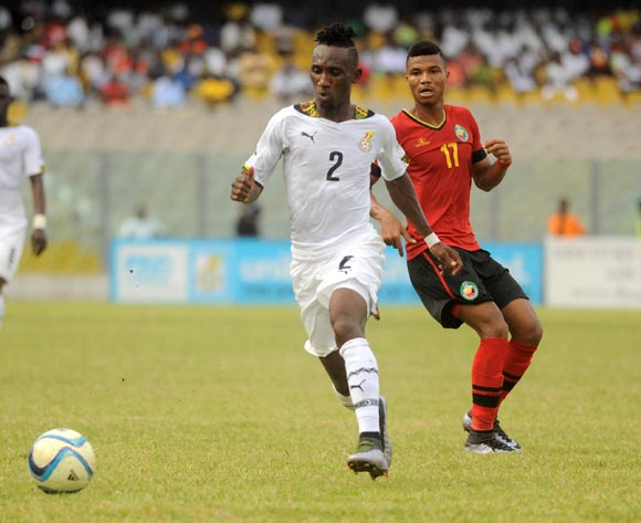Reinildo Matsimbe of Mozambique challenging Harrison Afful of Ghana during the 2017 African Cup of Nations Qualifiers ©Christian Thompson/BackpagePix