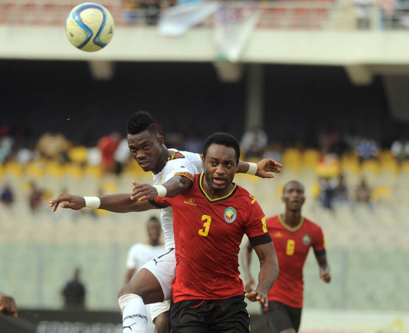 Zainadine Junior of Mozambique challenge Christian Atsu of Ghana during the 2017 African Cup of Nations Qualifiers ©Christian Thompson/BackpagePix