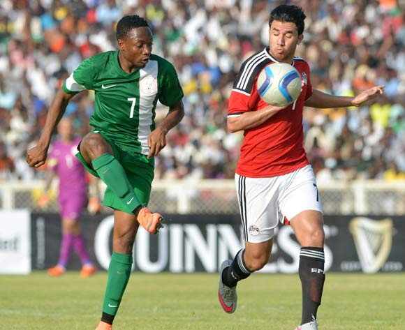 Ahmed Musa (left) in action for Nigeria recently vs Egypt