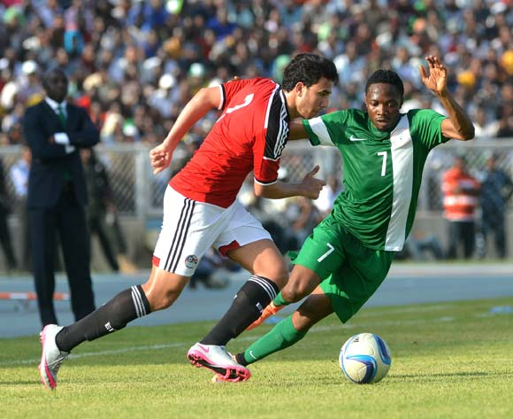 Ahmed Musa of Nigeria, Mohammed Hassan of Egypt during the 2017 Africa Cup of Nations Qualifier match between Nigeria v Egypt on March,25th,2016 at Ahmadu Bello Stadium,Kaduna © Kabiru Abubakar/Backpagepix