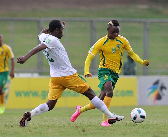 Kudakweshe Mahachi of Golden Arrows tackled by Caswell Chauke of Baroka during the 2016 Nedbank Cup match between Golden Arrows and Baroka at Chatsworth Stadium, Chatsworth Kwa-Zulu Natal on 03 April 2016 ©Muzi Ntombela/Backpagepix