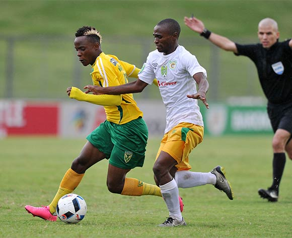 Kudakweshe Mahachi of Golden Arrows challenged by Lala Ntsoane of Baroka during the 2016 Nedbank Cup match between Golden Arrows and Baroka at Chatsworth Stadium, Chatsworth Kwa-Zulu Natal on 03 April 2016 ©Muzi Ntombela/Backpagepix