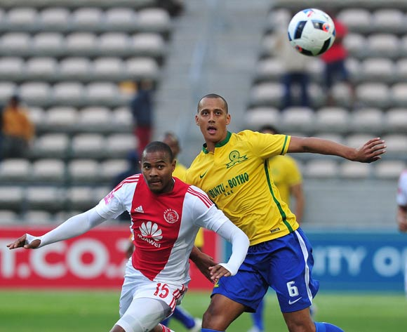 Prince Nxumalo of Ajax Cape Town battles for the ball with Wayne Arendse of Mamelodi Sundowns during the Absa Premiership 2015/16 football match between Ajax Cape Town and Mamelodi Sundowns at Athlone Stadium, Cape Town on 27 April 2016 ©Chris Ricco/BackpagePix