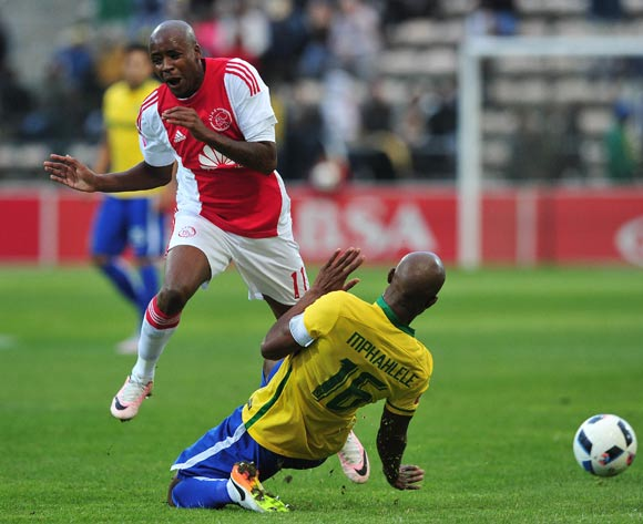 Bantu Mzwakali of Ajax Cape Town fouled by Ramahlwe Mphahlele of Mamelodi Sundowns during the Absa Premiership 2015/16 football match between Ajax Cape Town and Mamelodi Sundowns at Athlone Stadium, Cape Town on 27 April 2016 ©Chris Ricco/BackpagePix