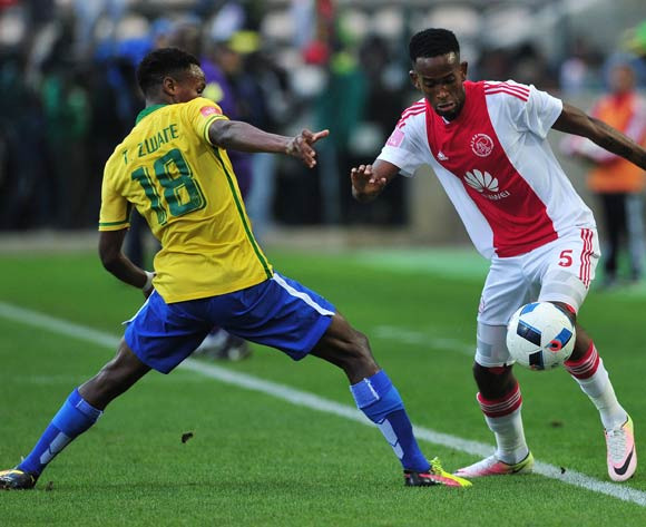 Mosa Lebusa of Ajax Cape Town evades challenge from Themba Zwane of Mamelodi Sundowns during the Absa Premiership 2015/16 football match between Ajax Cape Town and Mamelodi Sundowns at Athlone Stadium, Cape Town on 27 April 2016 ©Chris Ricco/BackpagePix