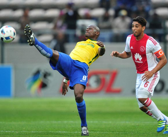 Hlompho Kekana of Mamelodi Sundowns battles for the ball with Travis Graham of Ajax Cape Town during the Absa Premiership 2015/16 football match between Ajax Cape Town and Mamelodi Sundowns at Athlone Stadium, Cape Town on 27 April 2016 ©Chris Ricco/BackpagePix