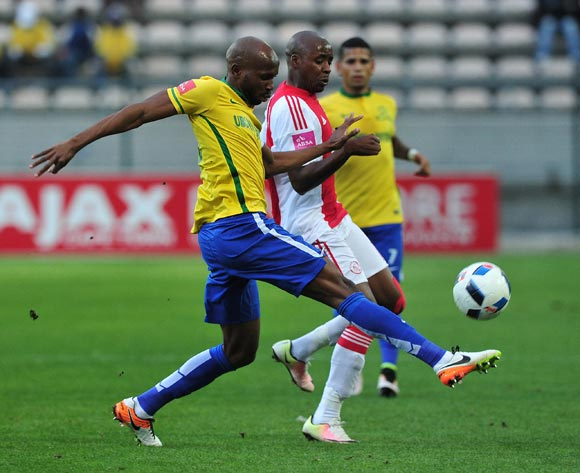 Ramahlwe Mphahlele of Mamelodi Sundowns battles for the ball with Bantu Mzwakali of Ajax Cape Town during the Absa Premiership 2015/16 football match between Ajax Cape Town and Mamelodi Sundowns at Athlone Stadium, Cape Town on 27 April 2016 ©Chris Ricco/BackpagePix