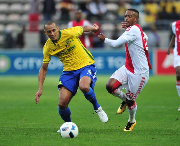 Wayne Arendse of Mamelodi Sundowns evades challenge from Erwin Isaacs of Ajax Cape Town during the Absa Premiership 2015/16 football match between Ajax Cape Town and Mamelodi Sundowns at Athlone Stadium, Cape Town on 27 April 2016 ©Chris Ricco/BackpagePix