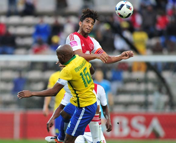 Travis Graham of Ajax Cape Town battles for the ball with Ramahlwe Mphahlele of Mamelodi Sundowns during the Absa Premiership 2015/16 football match between Ajax Cape Town and Mamelodi Sundowns at Athlone Stadium, Cape Town on 27 April 2016 ©Chris Ricco/BackpagePix