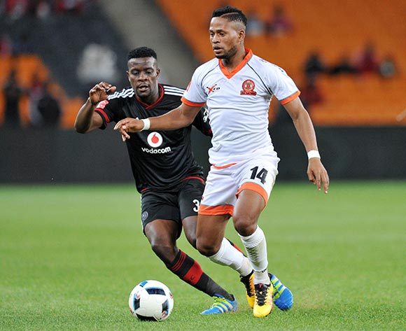 Edgar Manaka of Polokwane City challenged by Ntsikelelo Nyauza of Orlando Pirates during the Absa Premiership 2015/16 match between Orlando Pirates and Polokwane City at FNB Stadium in Johannesburg, South Africa on April 27, 2016 ©Muzi Ntombela/BackpagePix