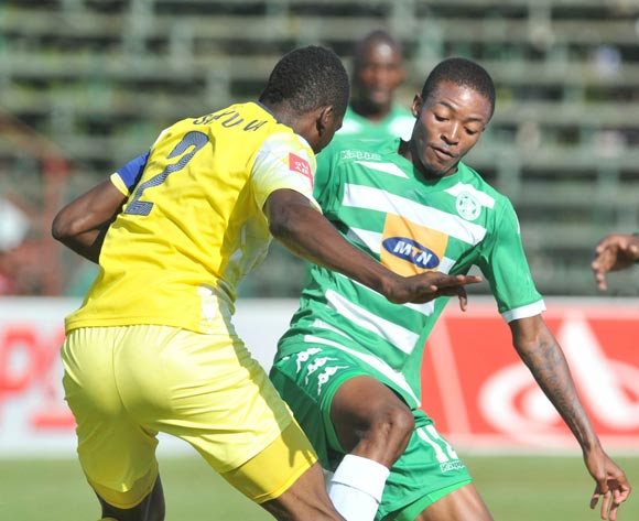 Thapelo Morena of Bloemfontein Celtic challenged by Frederick Nsabiyumva of Jomo Cosmos during the Absa Premiership match between Jomo Cosmos and Bloemfontein Celtic at the Olen Park Stadium in Pochestroom, South Africa on April 27, 2016 ©Samuel Shivambu/BackpagePix