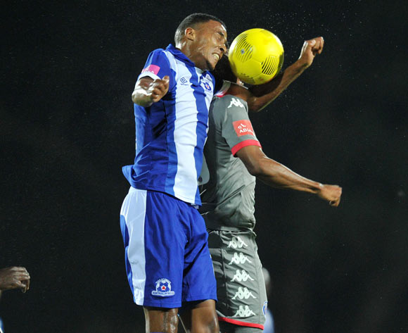 Grant Kekana of  Supersport United challenged by David Booysen of Maritzburg United during the Absa Premiership 2015/16 match between Maritzburg United and Supersport United at Harry Gwala Stadium in Pietermaritzburg, South Africa on April 29, 2016 ©Muzi Ntombela/BackpagePix