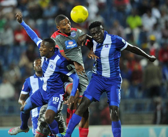 Mario Booysen of Supersport United challenged by Evans Rusike (l) and Brian Onyango of Maritzburg United during the Absa Premiership 2015/16 match between Maritzburg United and Supersport United at Harry Gwala Stadium in Pietermaritzburg, South Africa on April 29, 2016 ©Muzi Ntombela/BackpagePix