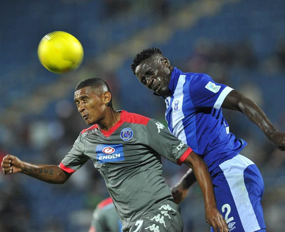 Mario Booysen of Supersport United challenged by Brian Onyango of Maritzburg United  during the Absa Premiership 2015/16 match between Maritzburg United and Supersport United at Harry Gwala Stadium in Pietermaritzburg, South Africa on April 29, 2016 ©Muzi Ntombela/BackpagePix