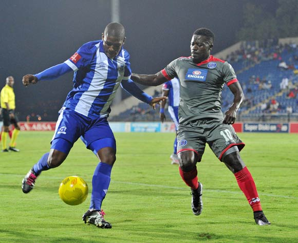 Mohau Mokate of Maritzburg United challenged by Kingston Nkhatha of Supersport United during the Absa Premiership 2015/16 match between Maritzburg United and Supersport United at Harry Gwala Stadium in Pietermaritzburg, South Africa on April 29, 2016 ©Muzi Ntombela/BackpagePix