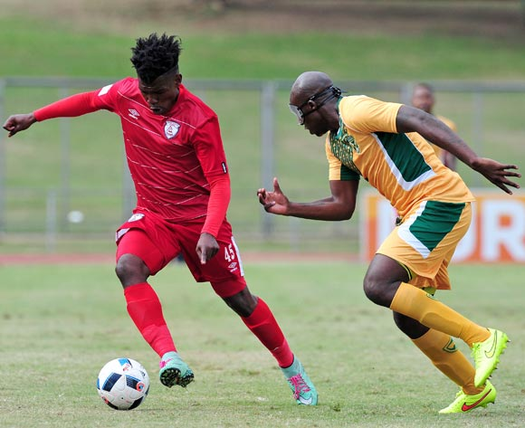 Ayanda Nkosi of Free State Stars challenged by Musa Bilankulu of Golden Arrows during the Absa Premiership 2015/16 match between Golden Arrows and Free State Stars at Chatsworth Stadium in Chatsworth, South Africa on April 30, 2016 ©Muzi Ntombela/BackpagePix