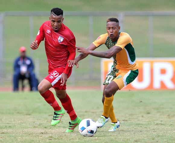 Nhlanhla Vilakazi of Free State Stars challenged by Sibusiso Sibeko of Golden Arrows during the Absa Premiership 2015/16 match between Golden Arrows and Free State Stars at Chatsworth Stadium in Chatsworth, South Africa on April 30, 2016 ©Muzi Ntombela/BackpagePix