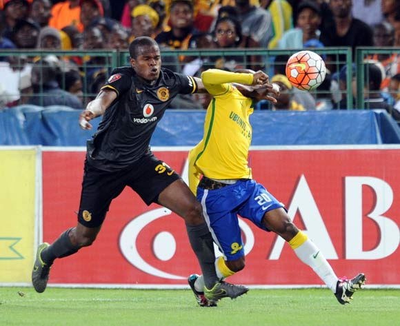 Willard Katsande of Kaizer Chiefs challenges Khama Billiat of Mamelodi Sundonws during the Absa Premiership match between Mamelodi Sundowns and Kaizer Chiefs on 30 April 2016 at Loftus Versfeld Stadium Pic Sydney Mahlangu/ BackpagePix