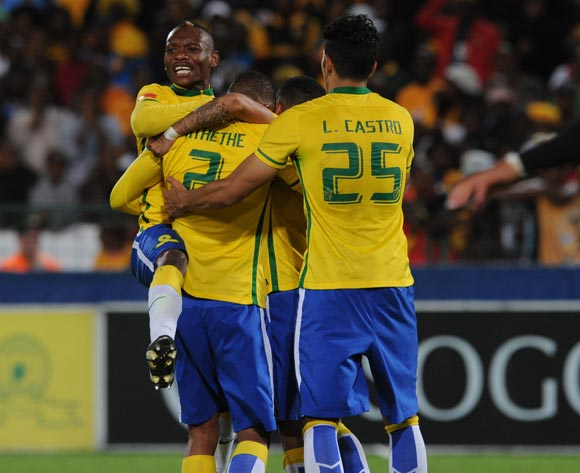 Thabo Nthethe of Mamelodi Sundowns celebrates a goal with teammates during the Absa Premiership match between Mamelodi Sundowns and Kaizer Chiefs on 30 April 2016 at Loftus Versfeld Stadium Pic Sydney Mahlangu/ BackpagePix
