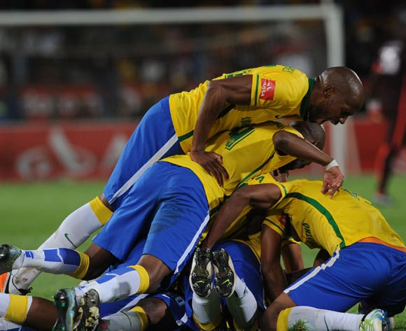 Khama Billiat of Mamelodi Sundowns celebrates a goal with teammates during the Absa Premiership match between Mamelodi Sundowns and Kaizer Chiefs on 30 April 2016 at Loftus Versfeld Stadium Pic Sydney Mahlangu/ BackpagePix