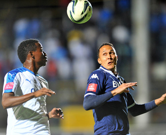 Henrico Botes of Bidvest Wits challenged by Thamsanqa Sangweni of Chippa United during the Absa Premiership match between Bidvest Wits and Chippa United at the Bidvest Stadium in Johannesburg, South Africa on April 30, 2016 ©Samuel Shivambu/BackpagePix