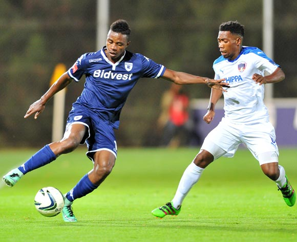 Papy Faty of Bidvest Wits challenged by Buyani Sali of Chippa United during the Absa Premiership match between Bidvest Wits and Chippa United at the Bidvest Stadium in Johannesburg, South Africa on April 30, 2016 ©Samuel Shivambu/BackpagePix