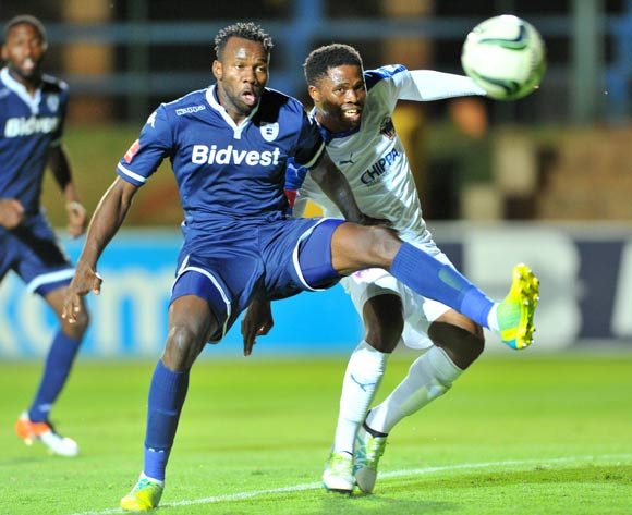 David Zulu of Chippa United challenged by Bongani Khumalo of Bidvest Wits during the Absa Premiership match between Bidvest Wits and Chippa United at the Bidvest Stadium in Johannesburg, South Africa on April 30, 2016 ©Samuel Shivambu/BackpagePix