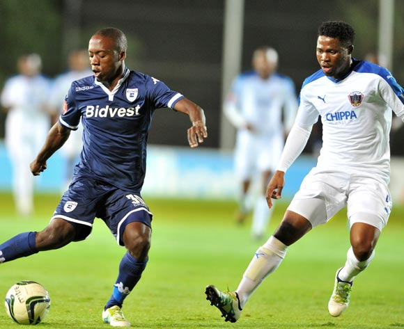 Ben Motswari of Bidvest Wits challenged by David Zulu of Chippa United during the Absa Premiership match between Bidvest Wits and Chippa United at the Bidvest Stadium in Johannesburg, South Africa on April 30, 2016 ©Samuel Shivambu/BackpagePix