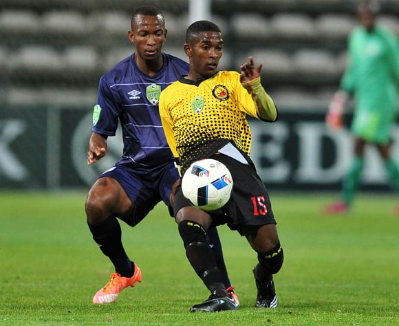 Faizel Johnson of Santos controls the ball as he is challenged by Sifiso Mbhele of Free State Stars during the 2016 Nedbank Cup last 16 game between Santos and Free State Stars at Athlone Stadium, Cape Town on 2 April 2016 ©Ryan Wilkisky/BackpagePix