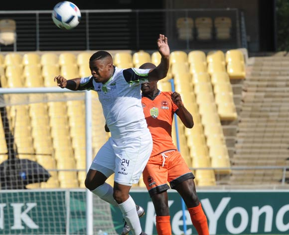 Mduduzi Nyanda of Platinum Stars is challenged by Simphiwe Hlongwane  of Polokwane City during the Nedbank Cup Last 16 match between Platinum Stars and Polokwane City on 02 April 2016 at Royal Bafokeng Stadium Pic Sydney Mahlangu/ BackpagePix