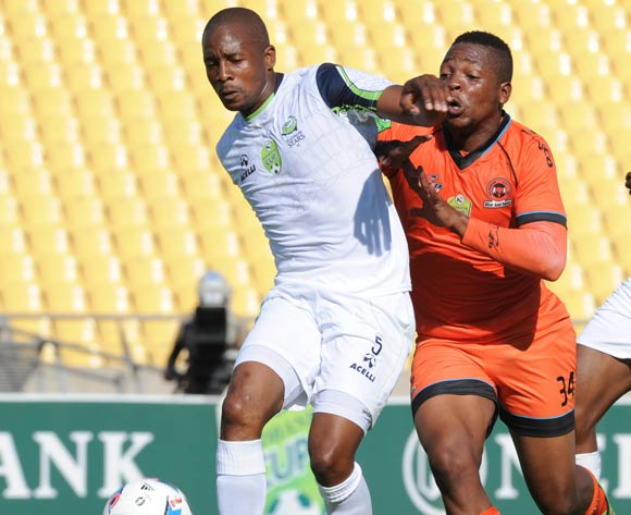 Gift Sithole of Platinum Stars is challenges Muzikayifani Ngidi of Polokwane City during the Nedbank Cup Last 16 match between Platinum Stars and Polokwane City on 02 April 2016 at Royal Bafokeng Stadium Pic Sydney Mahlangu/ BackpagePix