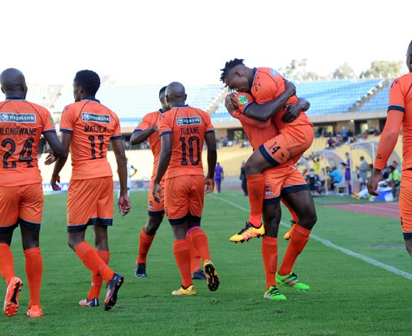 Edgar Manaka of Polokwane City celebrates a goal with teammates during the Nedbank Cup Last 16 match between Platinum Stars and Polokwane City on 02 April 2016 at Royal Bafokeng Stadium Pic Sydney Mahlangu/ BackpagePix