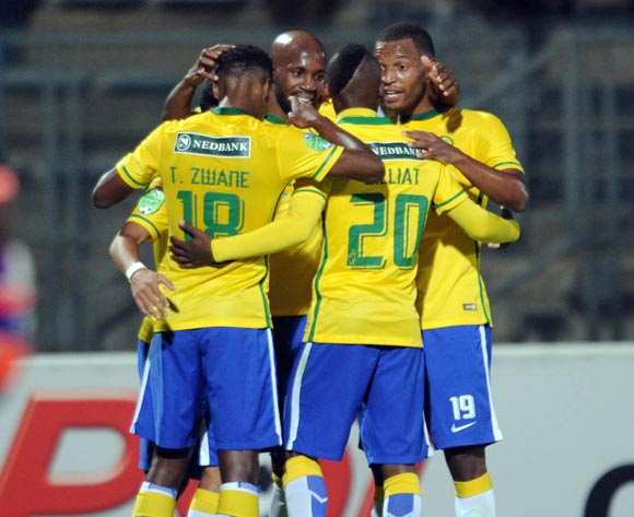 Keagan Dolly of Mamelodi Sundowns celebrates a goal with teammates during the Nedbank Cup Last 16 match between Mamelodi Sundowns and Mbombela United on 02 April 2016 at Lucas Moripe Stadium Pic Sydney Mahlangu/ BackpagePix