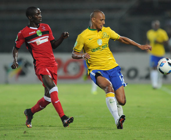 Wayne Arendse of Mamelodi Sundowns is challenged by Inky Masuku of Mbombela United   during the Nedbank Cup Last 16 match between Mamelodi Sundowns and Mbombela United on 02 April 2016 at Lucas Moripe Stadium Pic Sydney Mahlangu/ BackpagePix