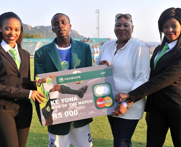 Thabo Nodada of Black Aces awarded Man of the match during the 2016 Nedbank Cup last 16 match between Black Aces and Maritzburg United at the Kanyamazane Stadium in Nelspruit, South Africa on April 02, 2016 ©Samuel Shivambu/BackpagePix
